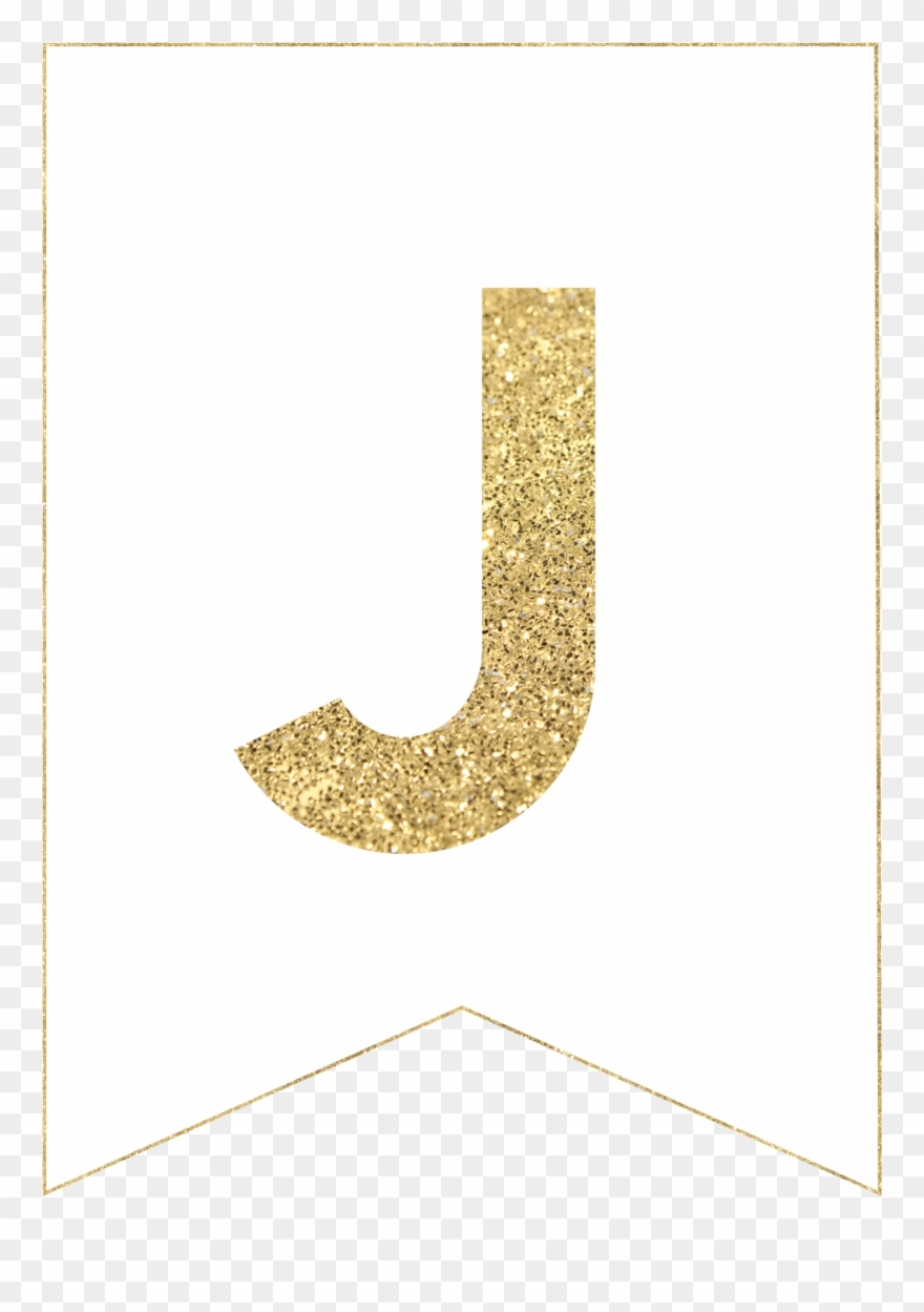 J Gold Alphabet Banner Letter Clipart (#2201377).