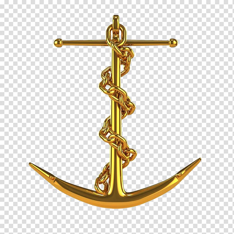 Gold anchor pendant, Anchor Chain Illustration, Golden.