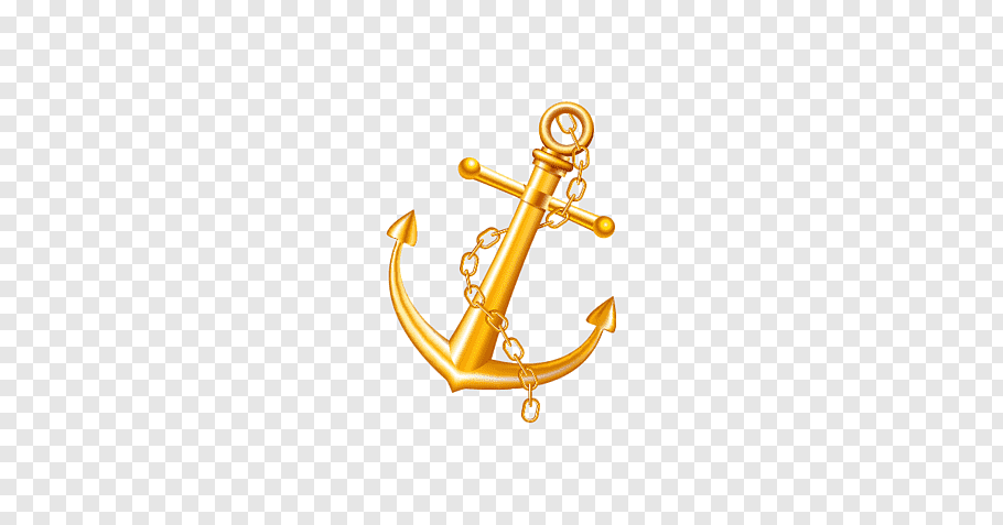 Gold anchor, Anchor Gold Watercraft Metal, Golden Anchor.