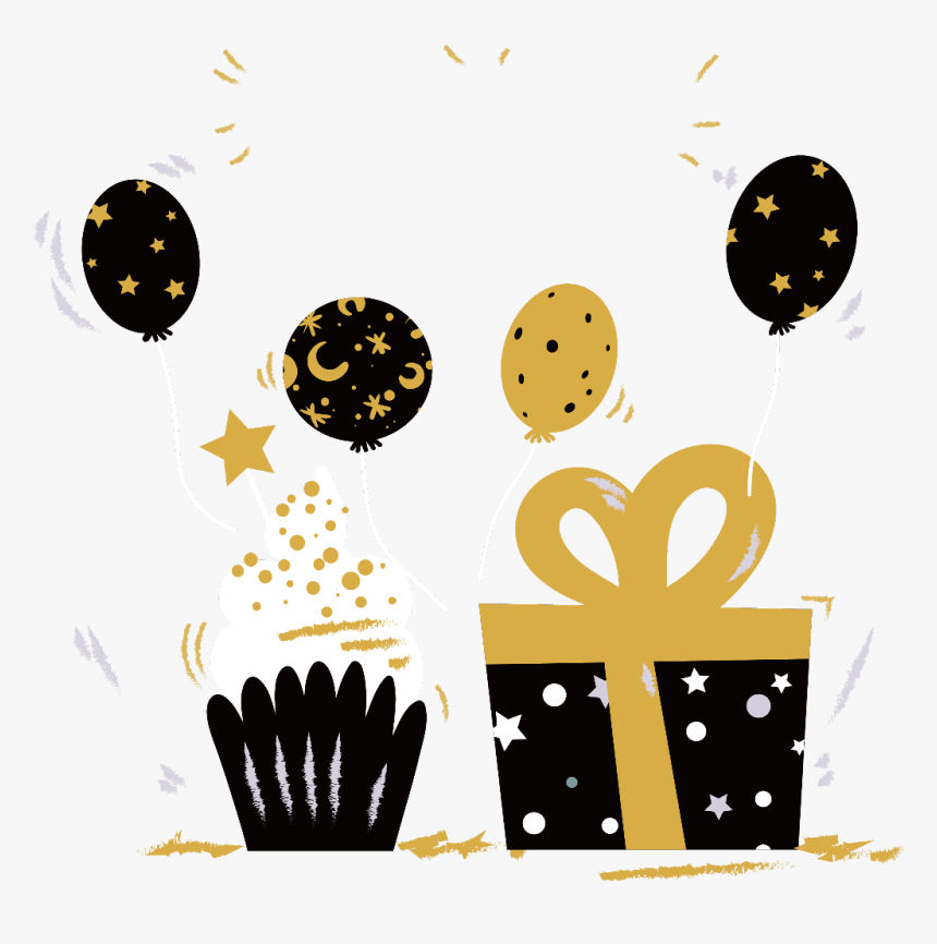 party #cupcake #gift #balloons #dots #black #gold.