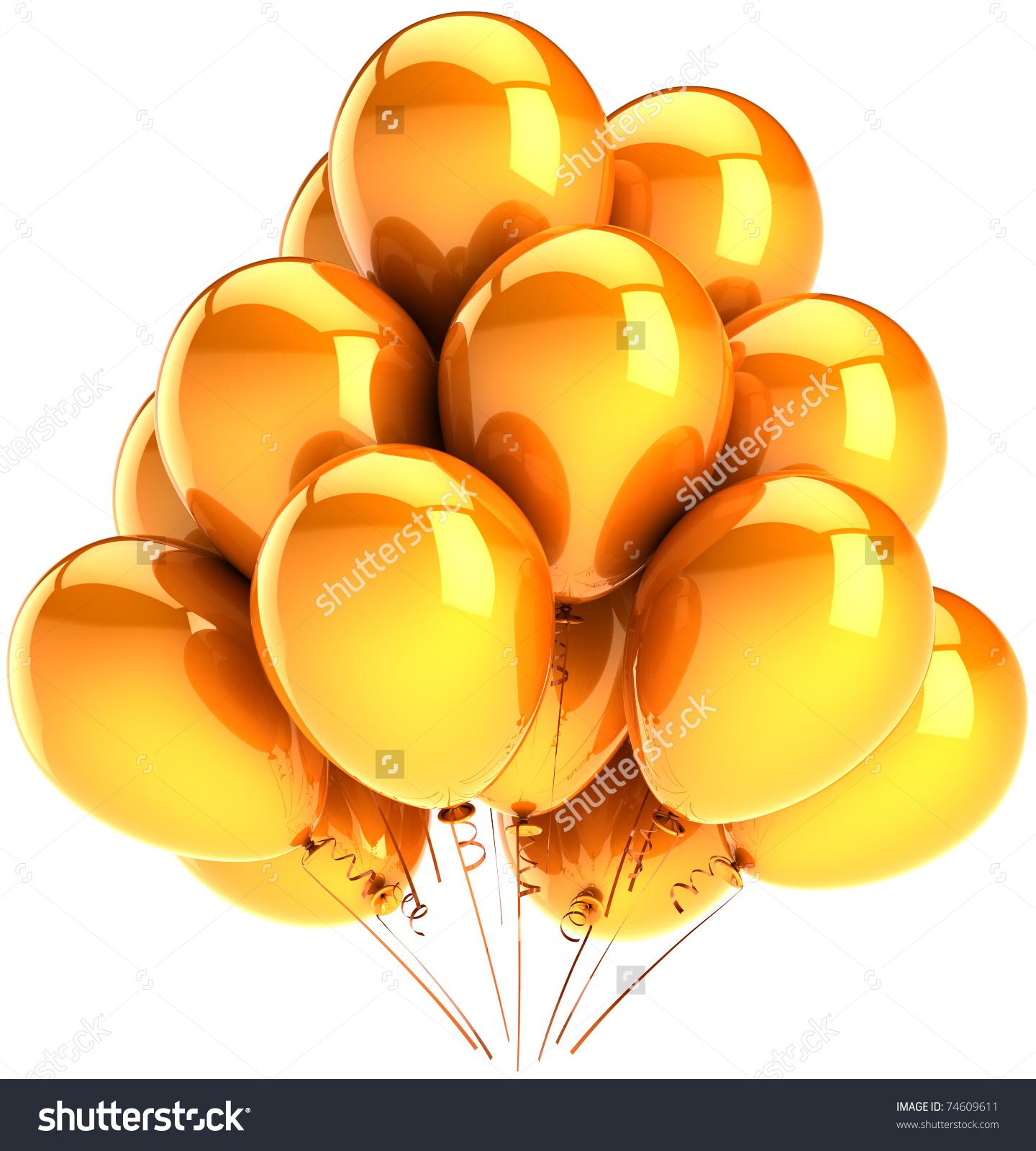 Party Balloons Golden Yellow Sunny Gold Stock Illustration.