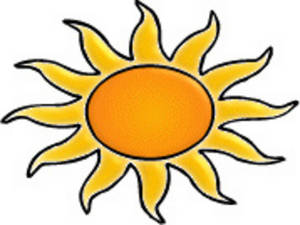 Clipart Picture of an Orange and Gold Sun.