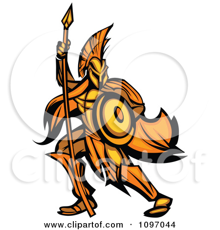 Clipart Gold And Orange Spartan Warrior Armed With A Spear And.