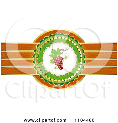 Clipart Leaf Circle With Red Grapes And A Ribbon Of Gold And.