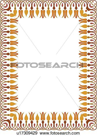 Clip Art of Red, gold and orange flower victorian Border u17309429.