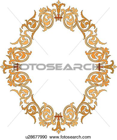 Clipart of Gold and Orange Oval Frame u28677990.