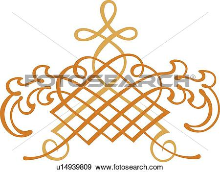 Clip Art of Gold and orange fancy design u14939809.