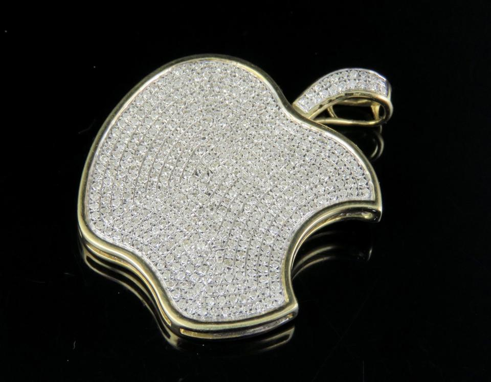 Jewelry Unlimited 10k Yellow Gold Iced Out Diamond Apple Logo Pendant  1.45ct 1.5\
