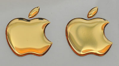 2pcs. 3D Golden Domed Apple logo stickers for iPhone, iPad cover. Size  35x30mm.