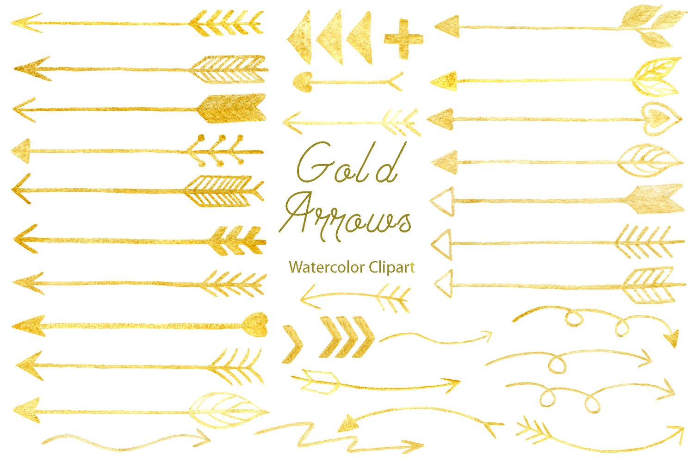 Hand drawn gold arrows, arrows clipart, arrow doodle instant download  scrapbook.