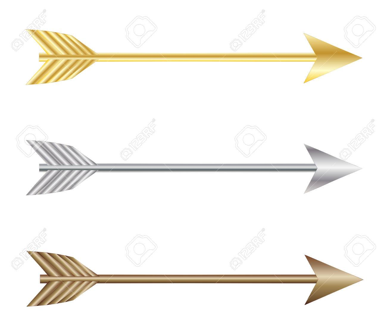 Bow arrows, gold silver and bronze vector eps 10.