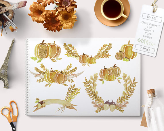 Autumn Clipart Watercolour Gold Glitter with Laurels and.