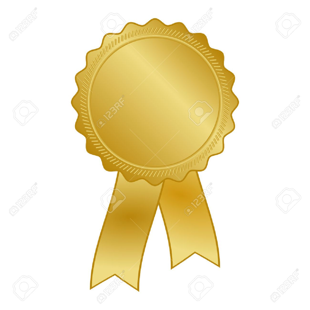 gold award rosette with ribbon.
