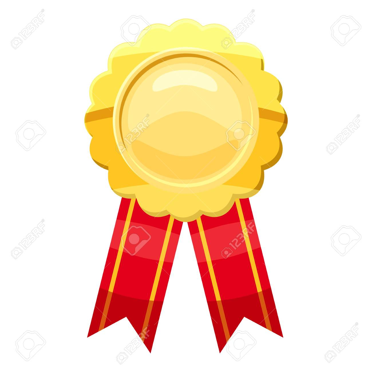 Gold award ribbon icon, cartoon style.