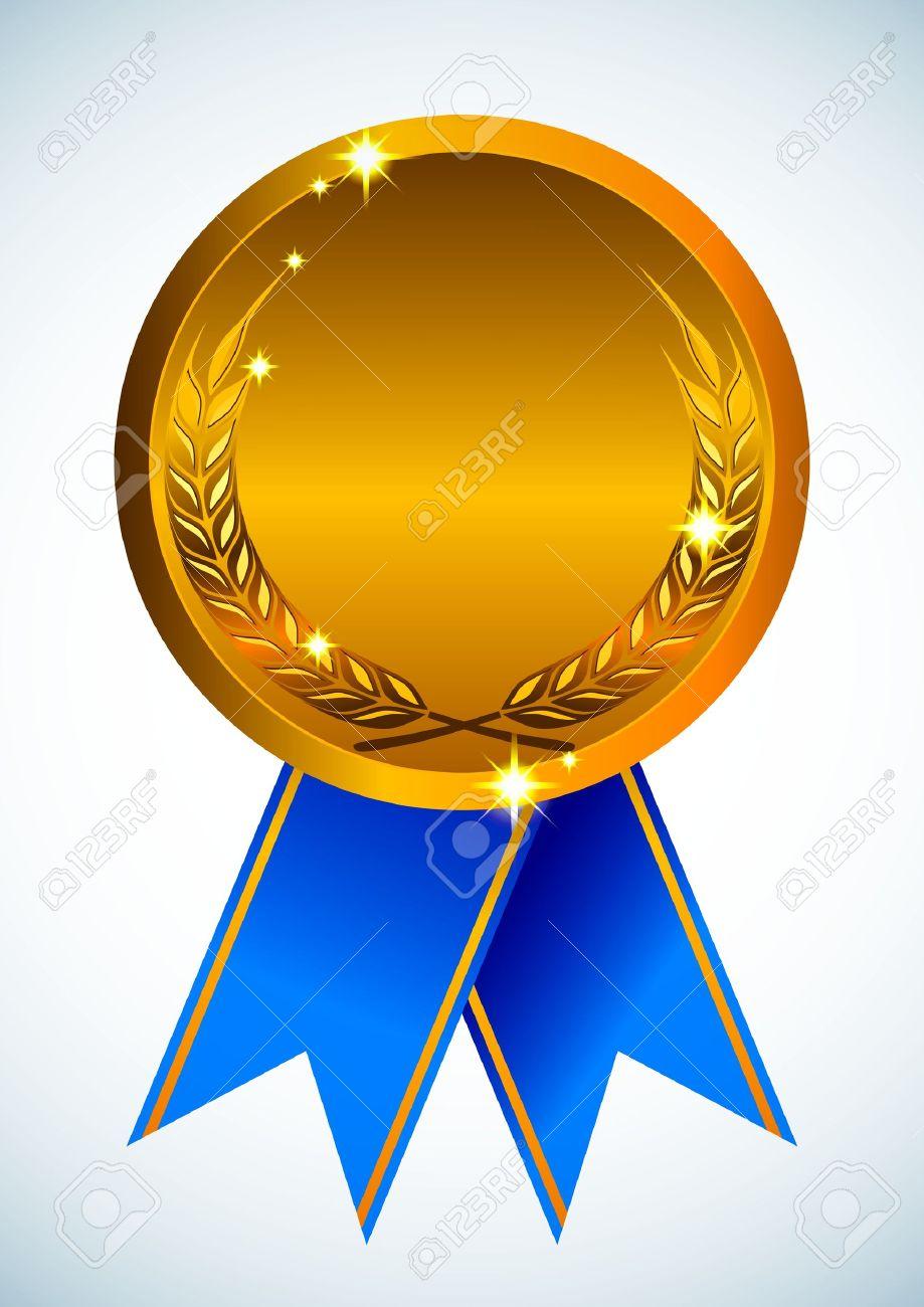 Gold award ribbon badge.