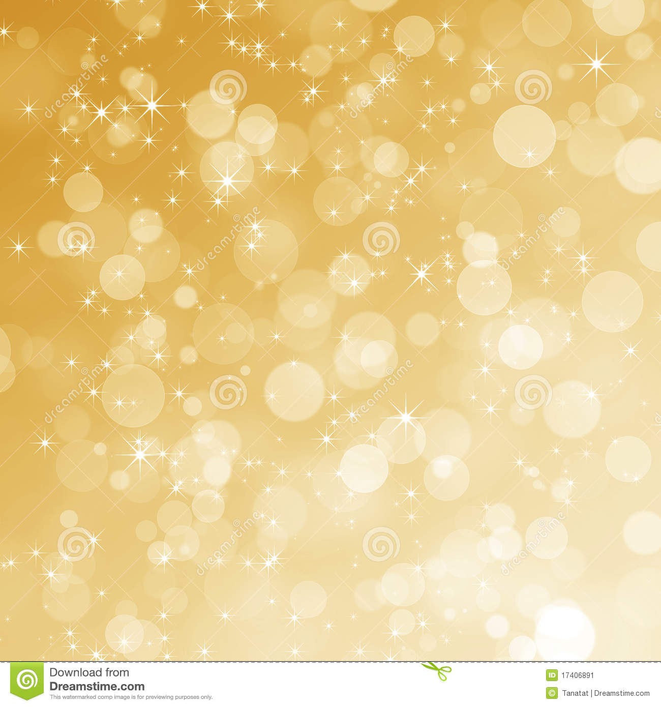 Abstract Gold Bokeh Background Stock Image.