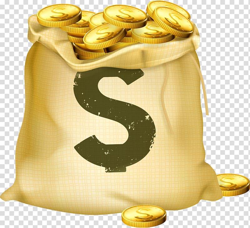 Money bag Gold coin, money bag transparent background PNG.
