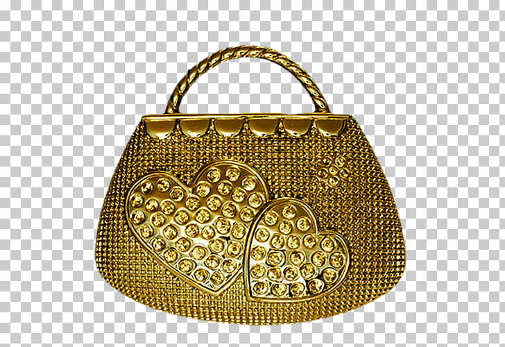 Handbag , Golden bag PNG clipart.