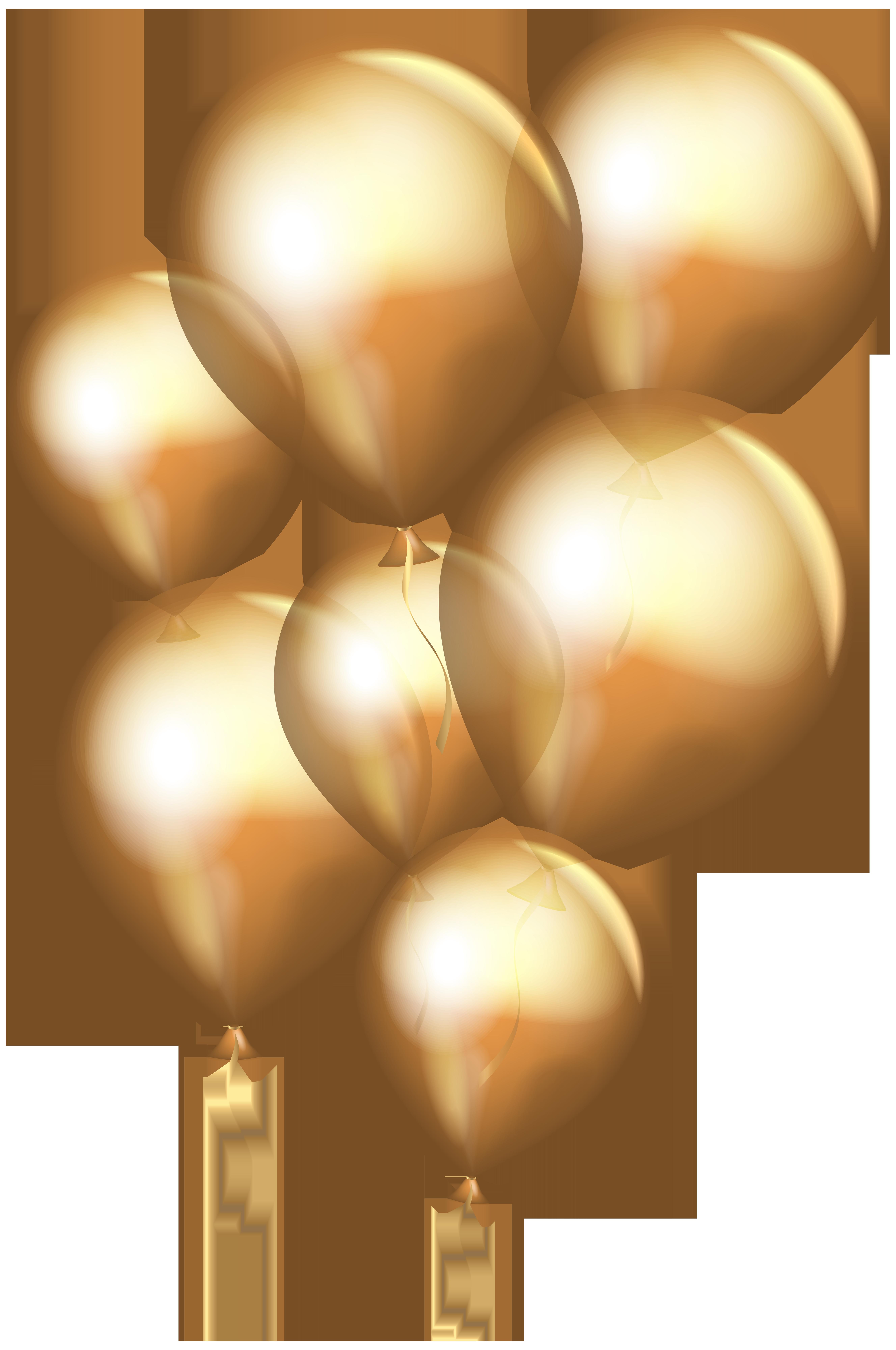 Transparent Gold Balloons PNG Clip Art.