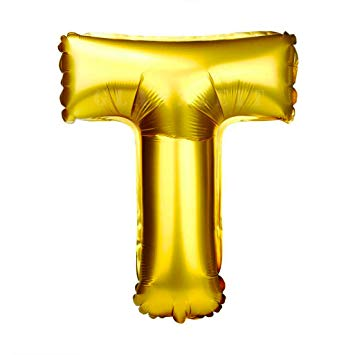Glanzzeit 32 Inch Gold Foil Balloons Letter A to Z Number 0 to 9 Party  Wedding Birthday Decoration (Letter T).