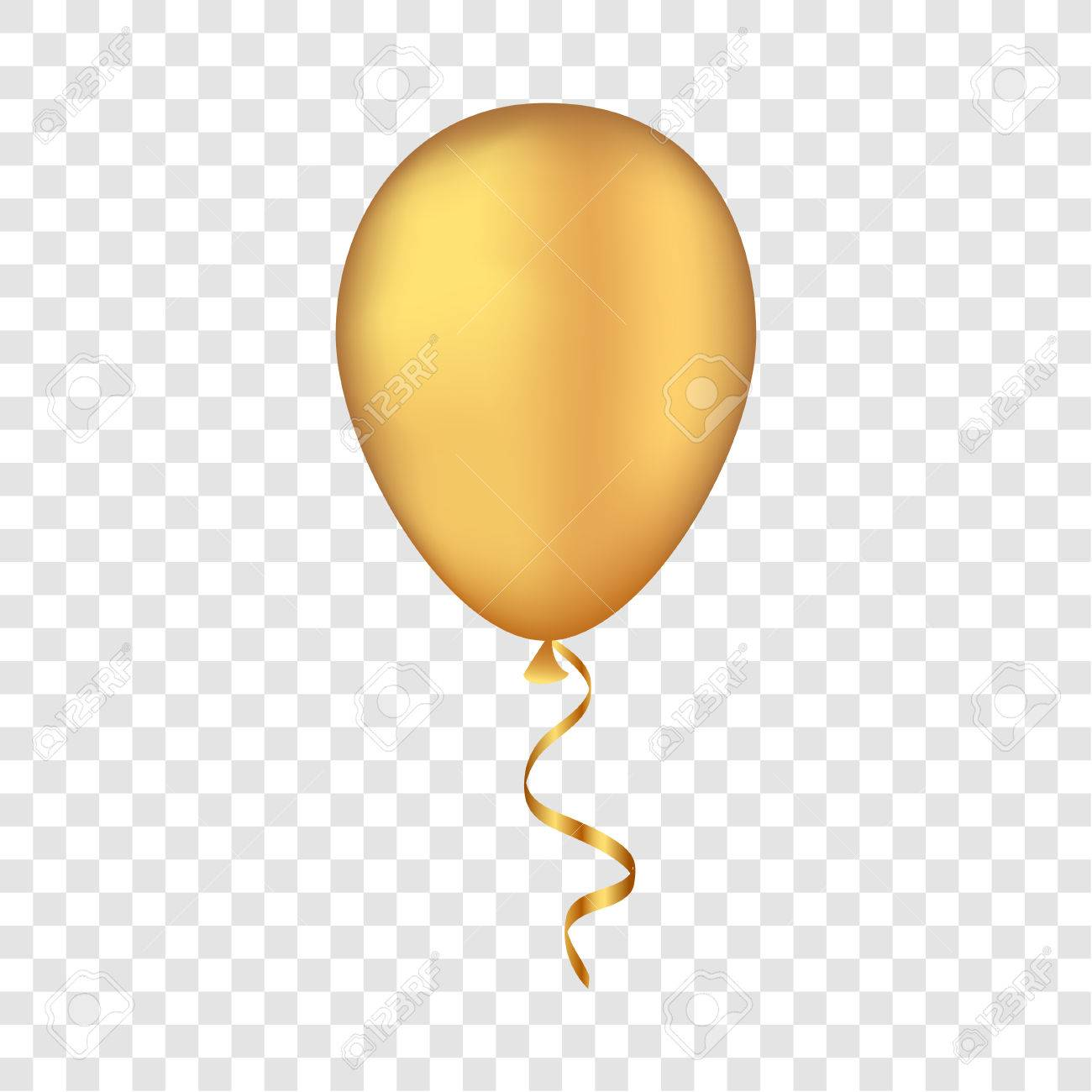Vector gold balloon on a transparent background. 3d realistic...