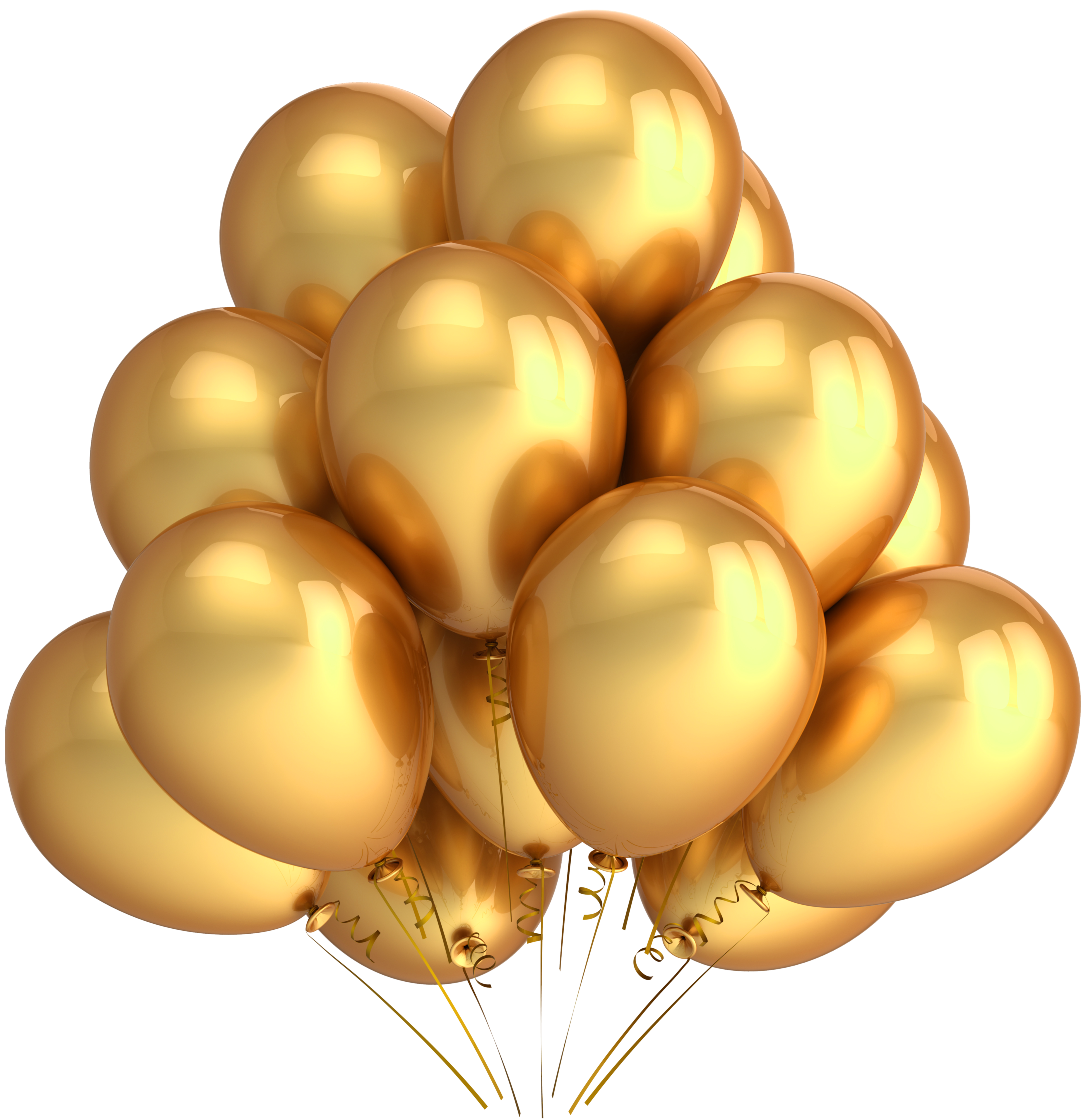 Transparent Gold Balloons Clipart.