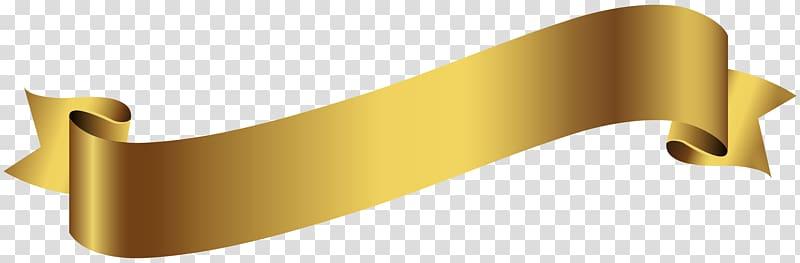 Gold ribbon illustration, Banner , Gold Banner transparent.