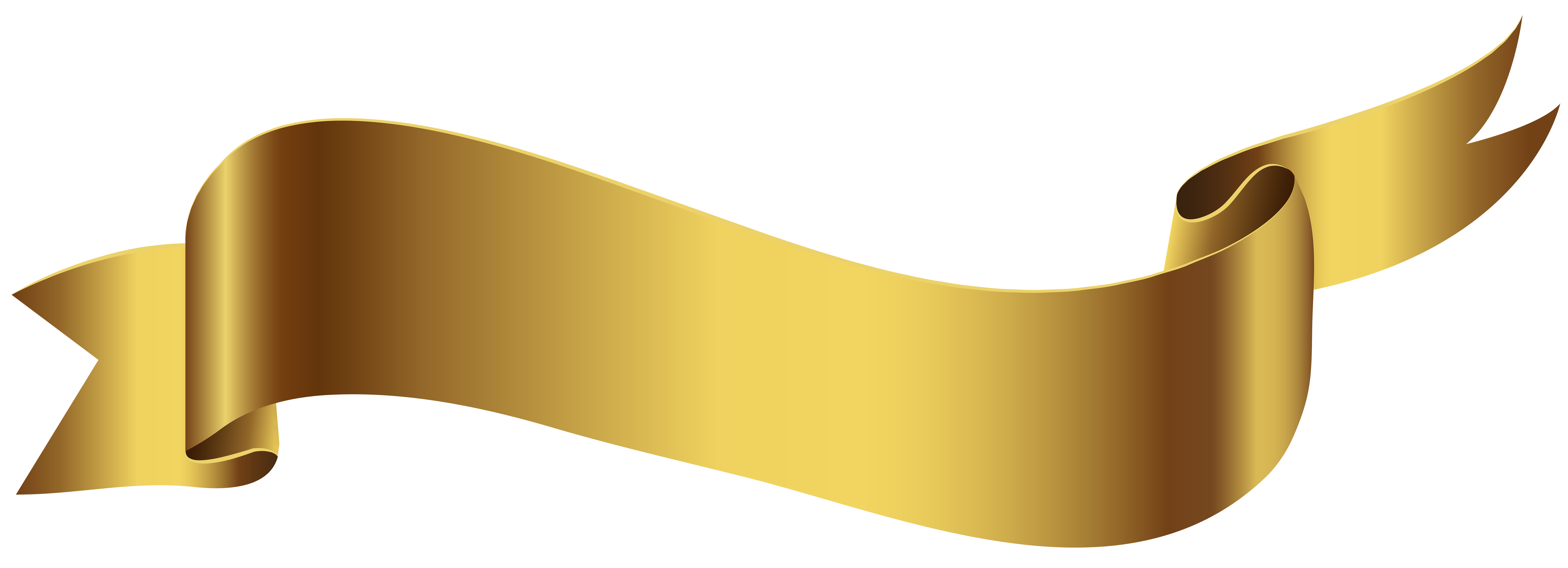 Gold Banner PNG Transparent Image.