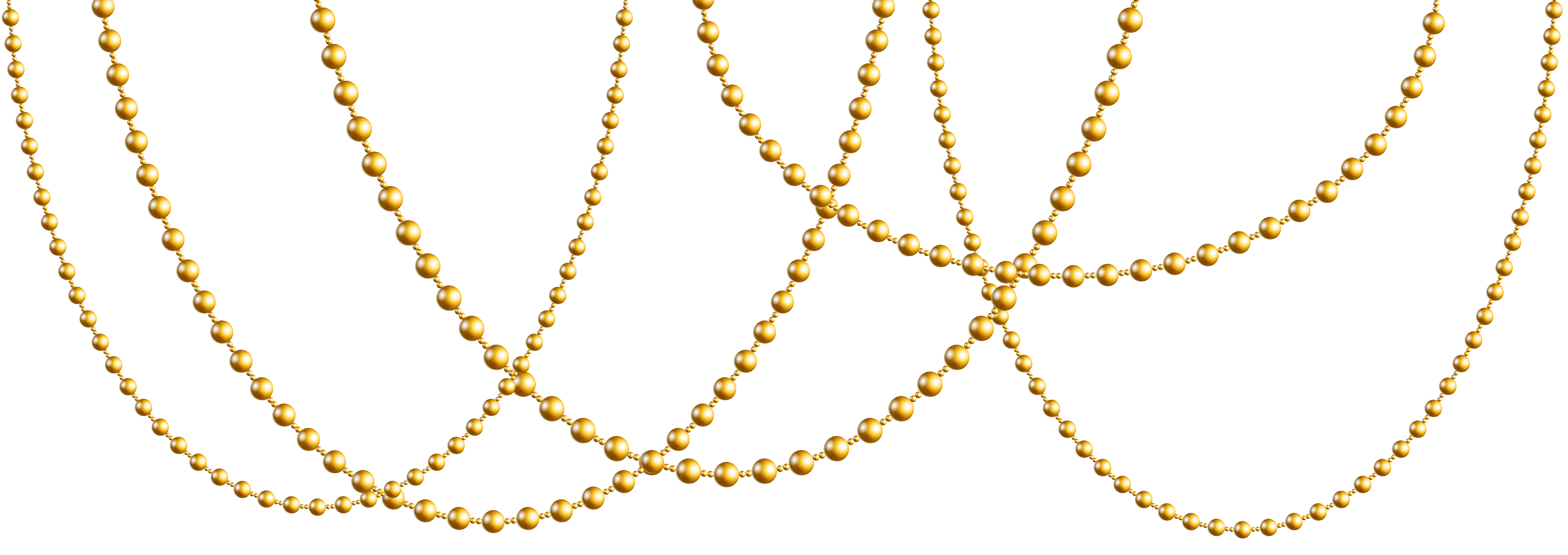 Gold Beads Garland PNG Clip Art Image.