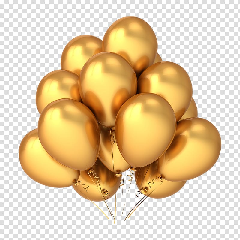 Several gold mylar balloons, Balloon Gold Birthday , Gold balloon.