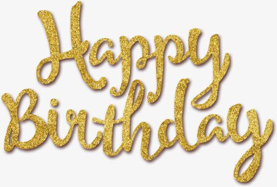 Golden Happy Birthday, Birthday Clipart, Golden, Happy Birthday PNG.