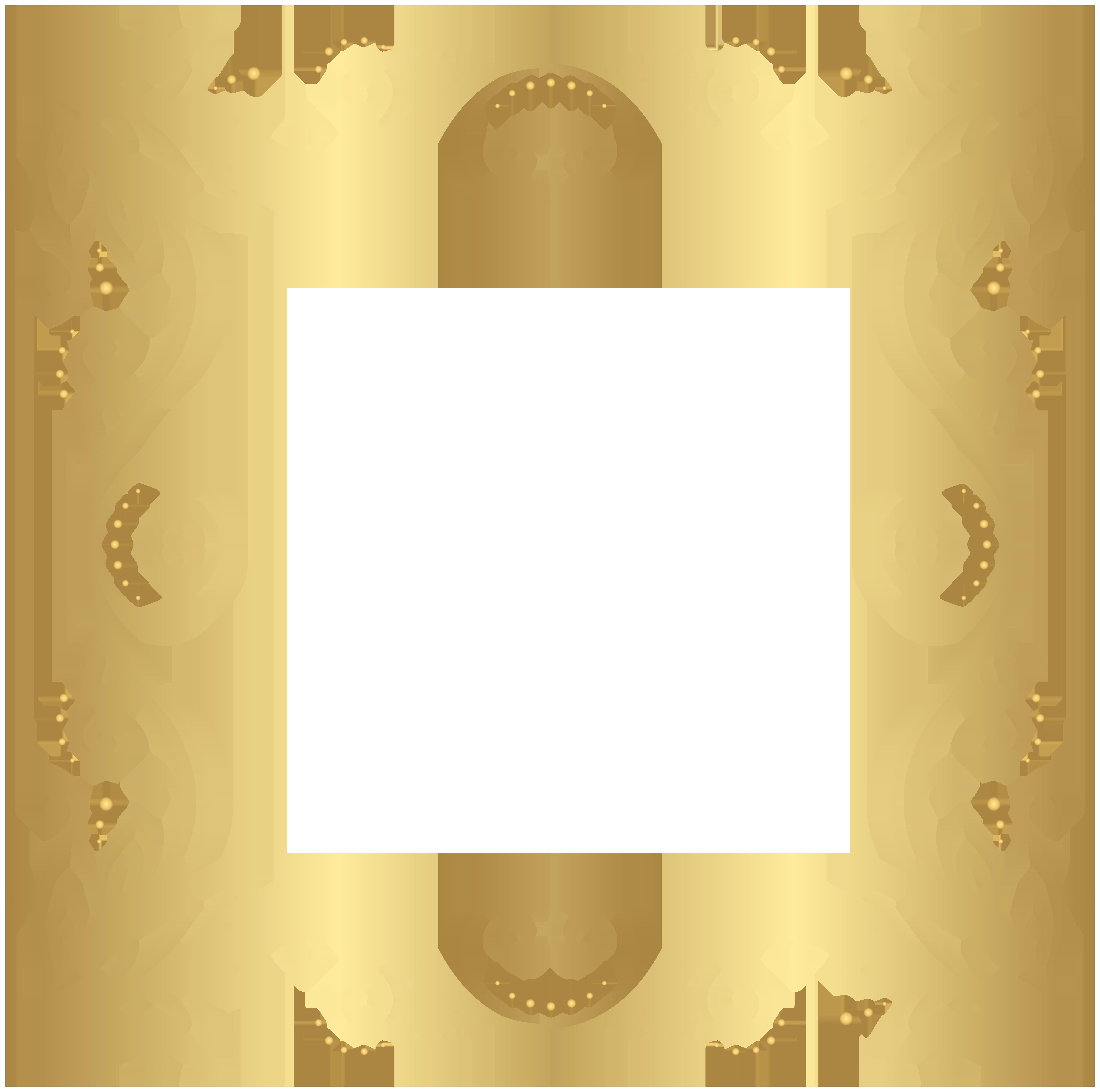 Gold Border Frame PNG Clip Art Image.