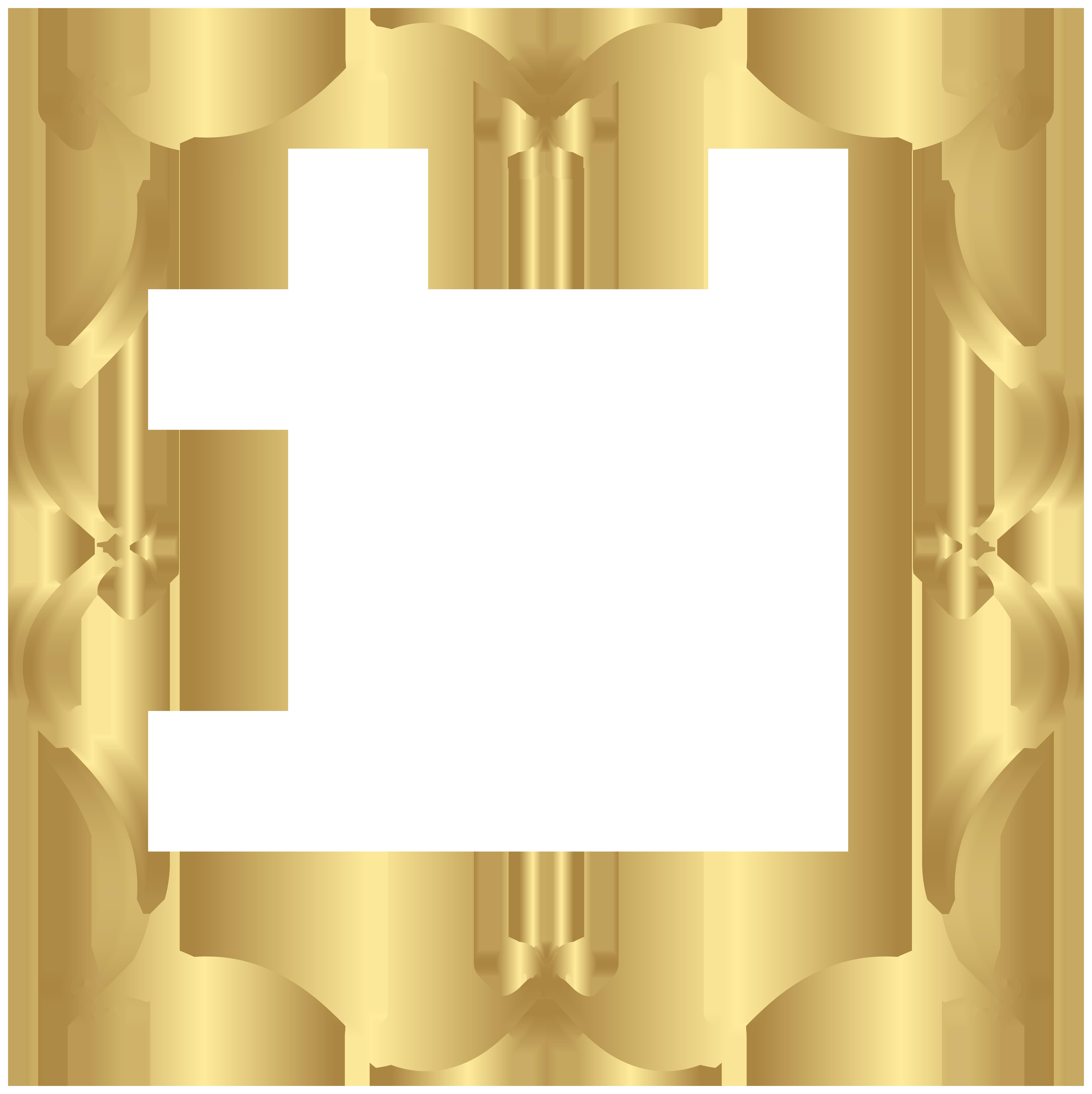Gold Border PNG Clip Art Image.