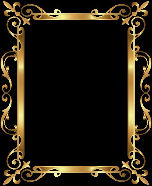 Gold Border Frame Deco Transparent Clip Art Image.