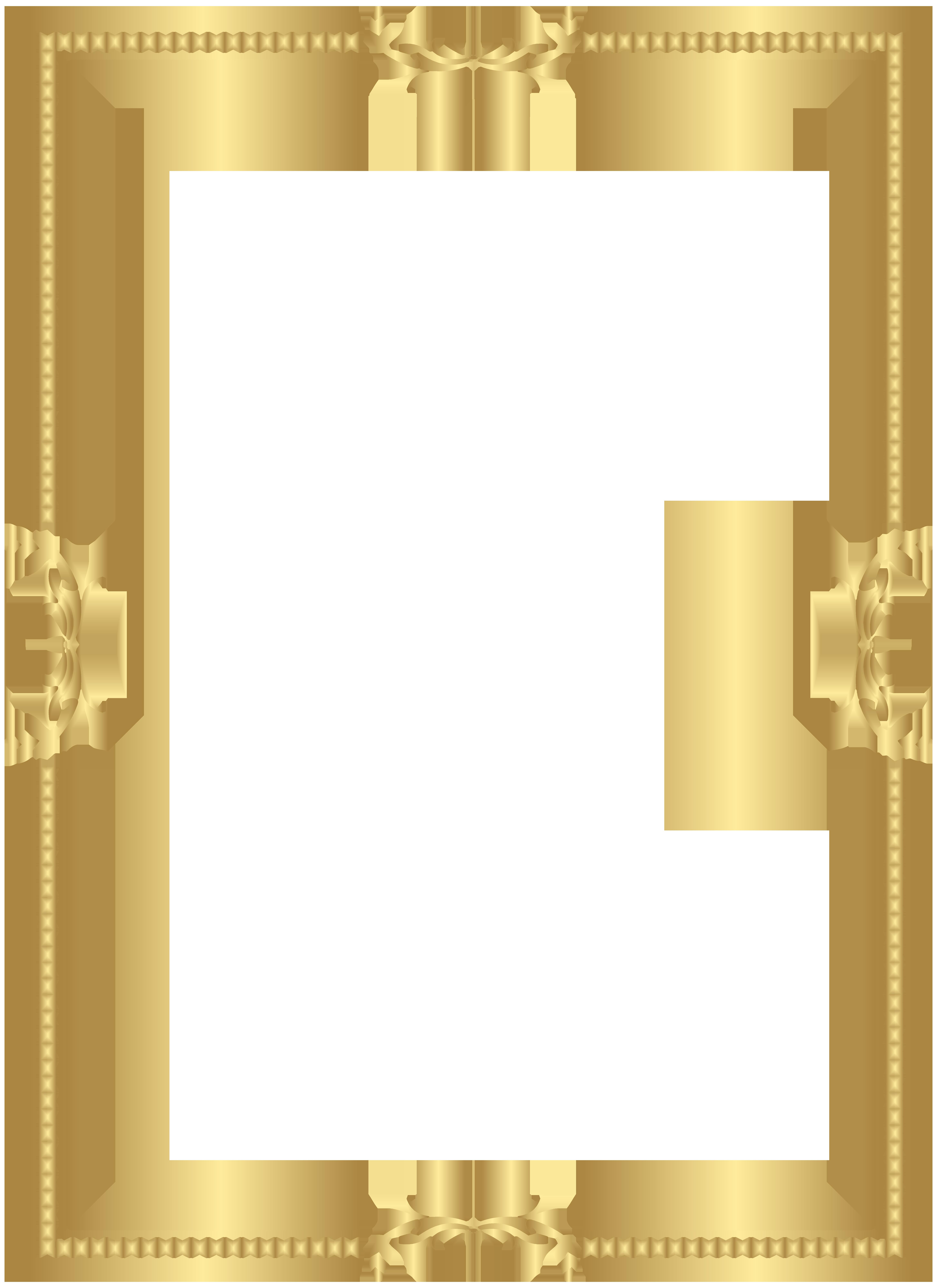 Gold Border Frame Transparent PNG Clip Art.