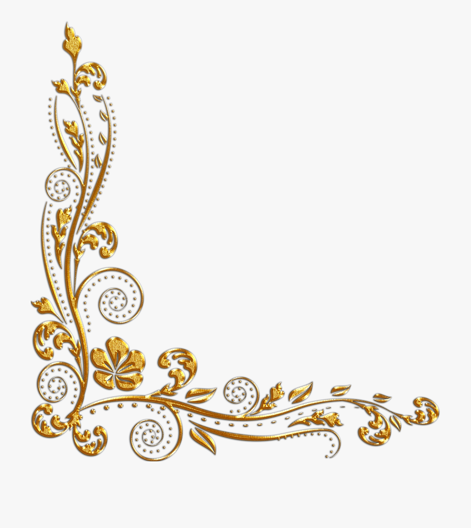 Gold Flower Border Png.