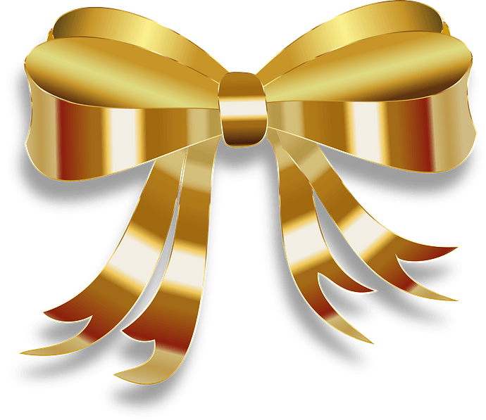 Gold Christmas Bow clipart. Free download..