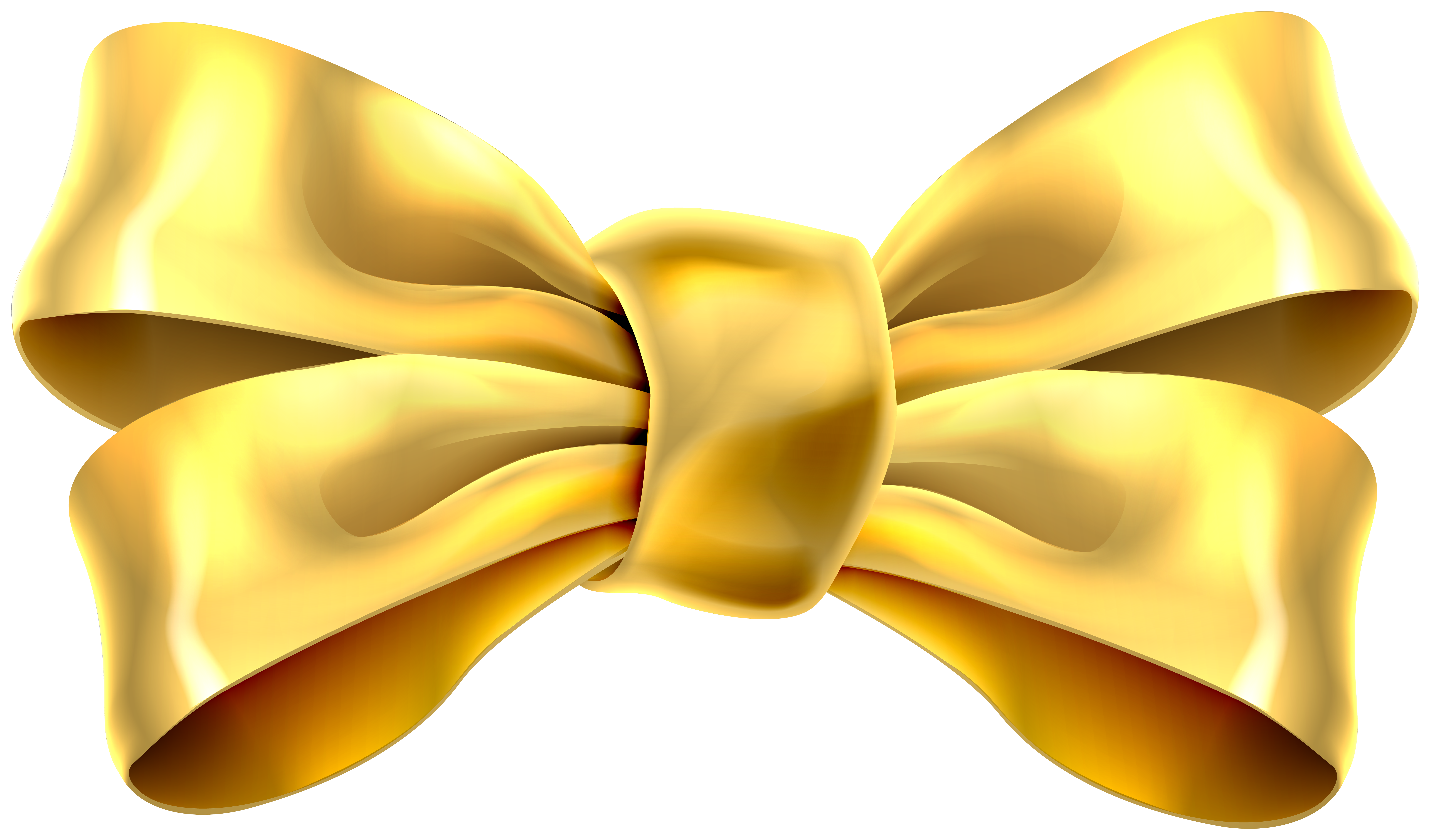 Gold Bow Clip Art PNG Image.