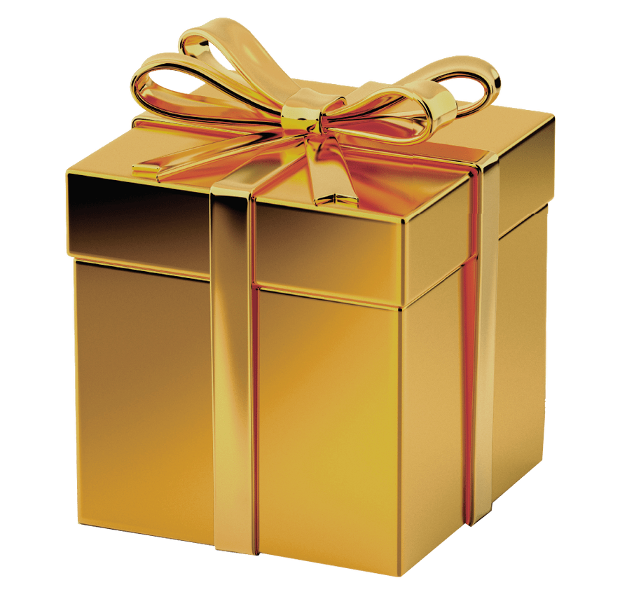Gold Gift box transparent image.