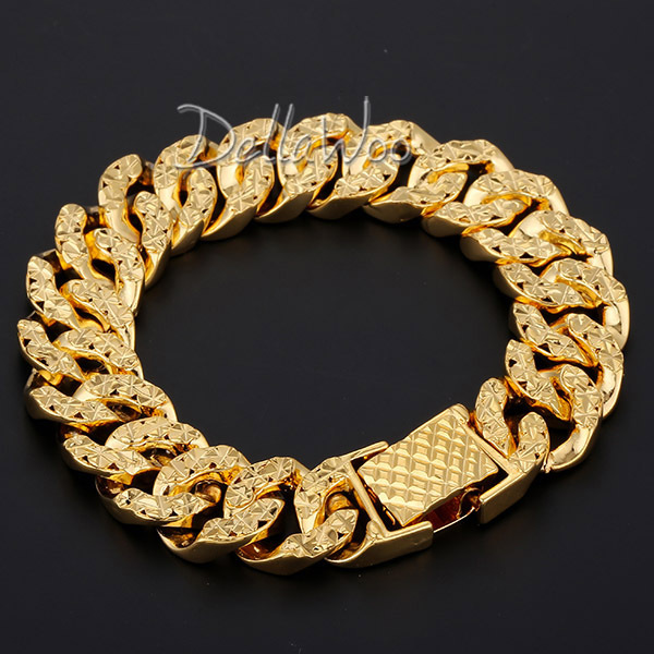 party rock thick perfect mm plated hiphop bracelet trendy two gold from tone jewelry men accessories cm gift product