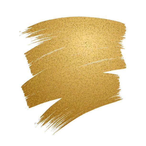 Glitter golden brush stroke on white background. vector art.