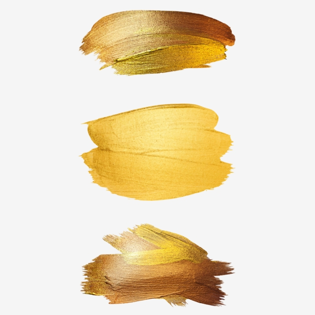 3 Gold Brush Strokes, Luxurious, Shading, Gold PNG Transparent.