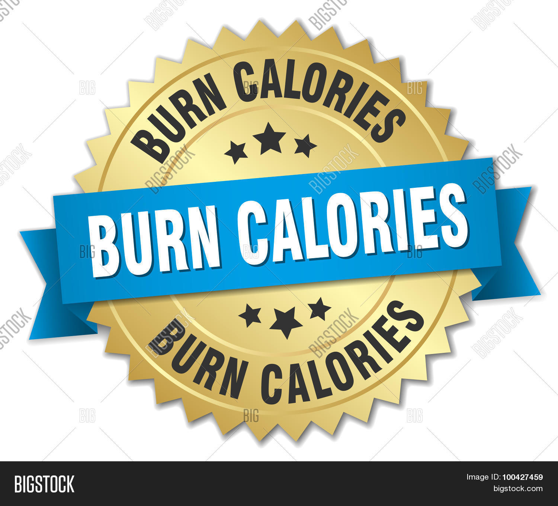 Burn Calories 3D Gold Badge With Blue Ribbon Stock Vector & Stock.
