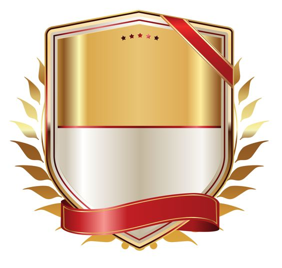 Golden Label with Gold Ribbon PNG Clipart Image.