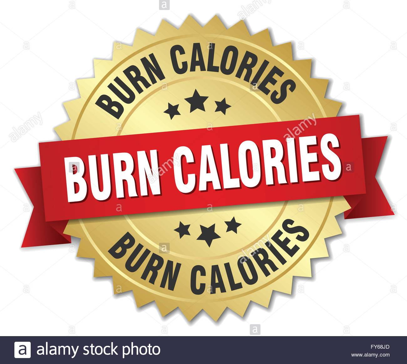 Burn Calories 3d Gold Badge With Red Ribbon Stock Photo, Royalty.