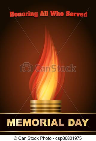 Vectors Illustration of Memorial day design with Eternal flame and.