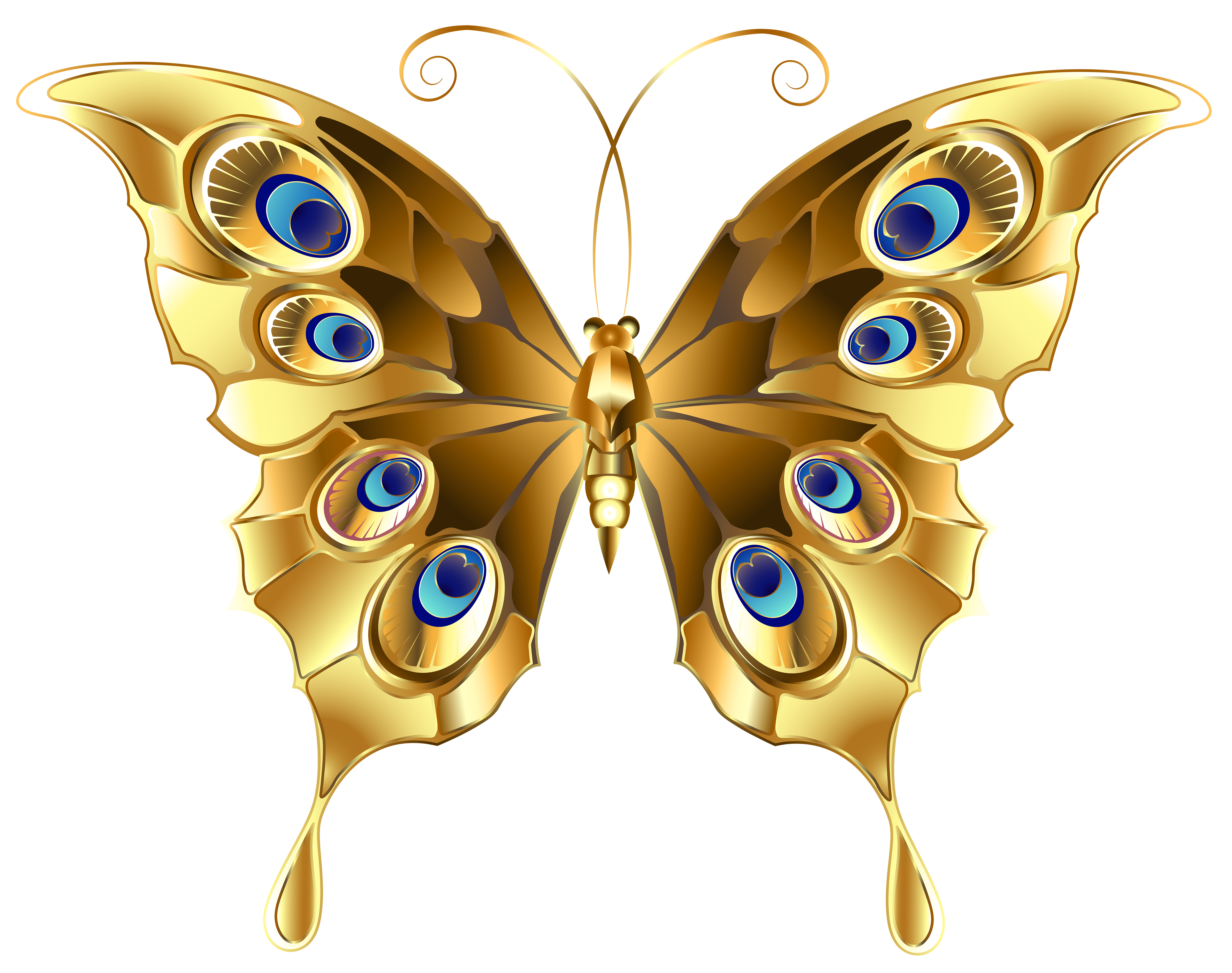 Gold Butterfly PNG Clip Art Image.