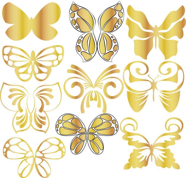Gold Butterflies clipart, Gold clip art, Digital Clipart Butterf.