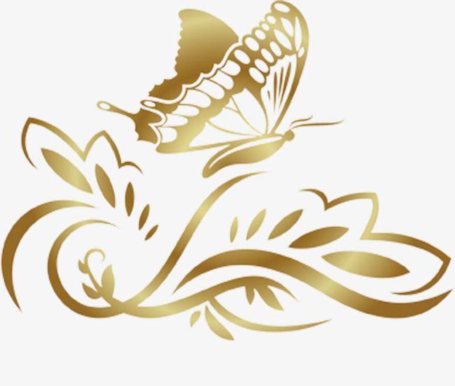 Golden Butterfly Pattern Border, Butterfly Clipart, Golden.
