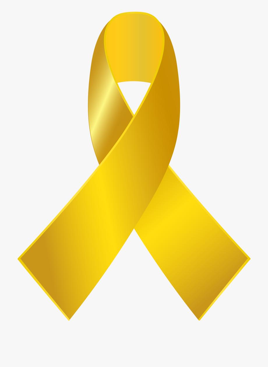 Gold Awareness Ribbon Png Clip Art.